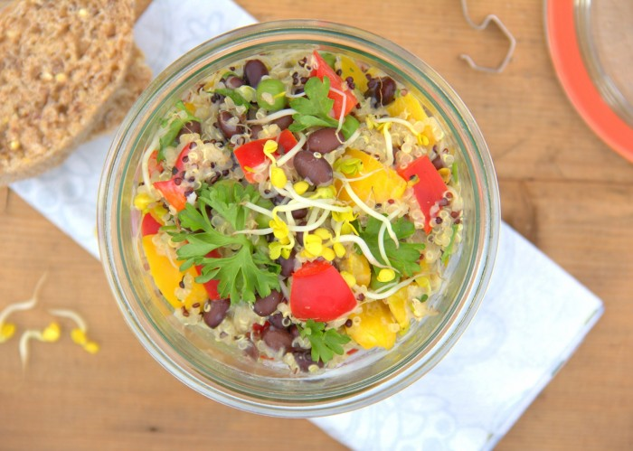 Quinoa-Powersalat vegane Salate Meal Prep gesunde Rezepte ohne Soja