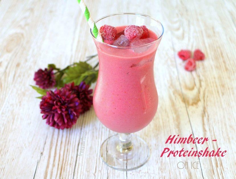 Himbeer-Proteinshake on Ice