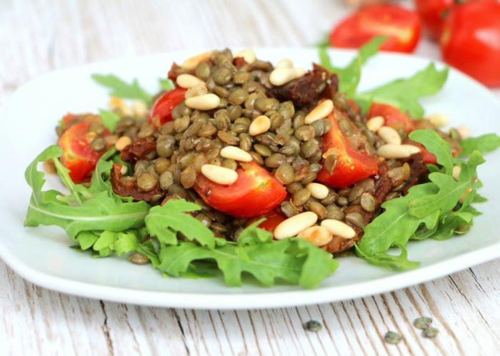 mediterraner Linsensalat vegane Salate Rezepte Meal Prep