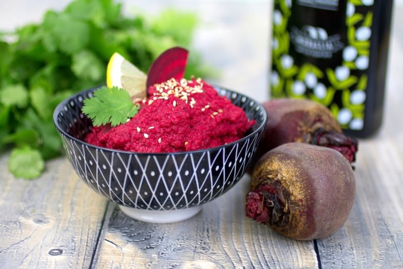 Rote-Bete-Hummus Hummus selbst gemacht vegan Fitness lowcarb lowfat