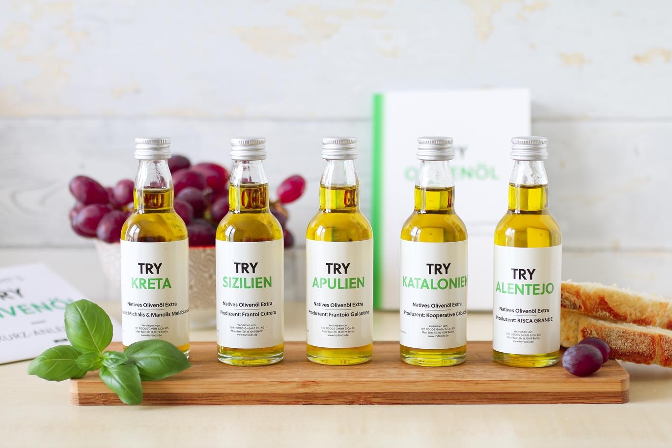 TRY Foods – großes Olivenöl Tasting mit der Probierbox