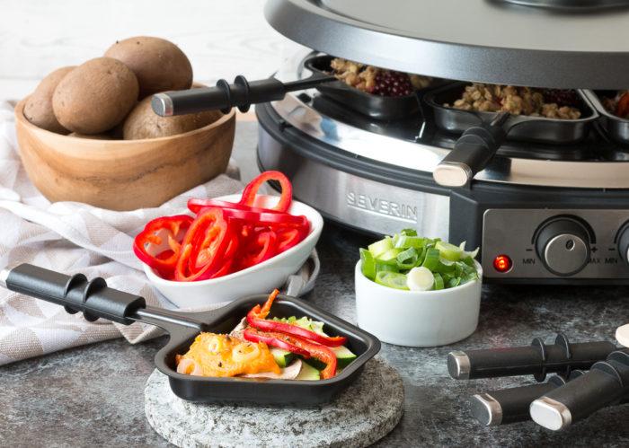 klassisches Veggie-Raclette Raclette vegan mit Hummus
