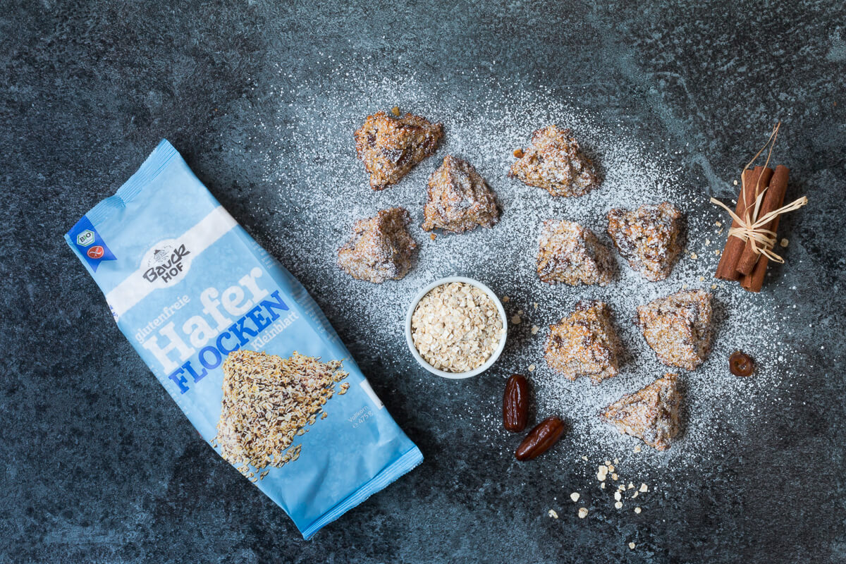 Glutenfrei backen leicht gemacht: Hafer-Dattel-Dünen