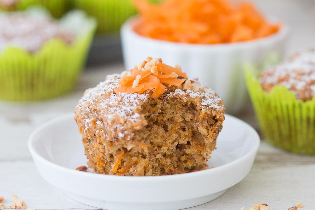 Rüblikuchen vegane, kalorienarme zuckerarme Rübli Muffins Karottenkuchen Karottenmuffins Möhren zuckerarm wenig Zucker