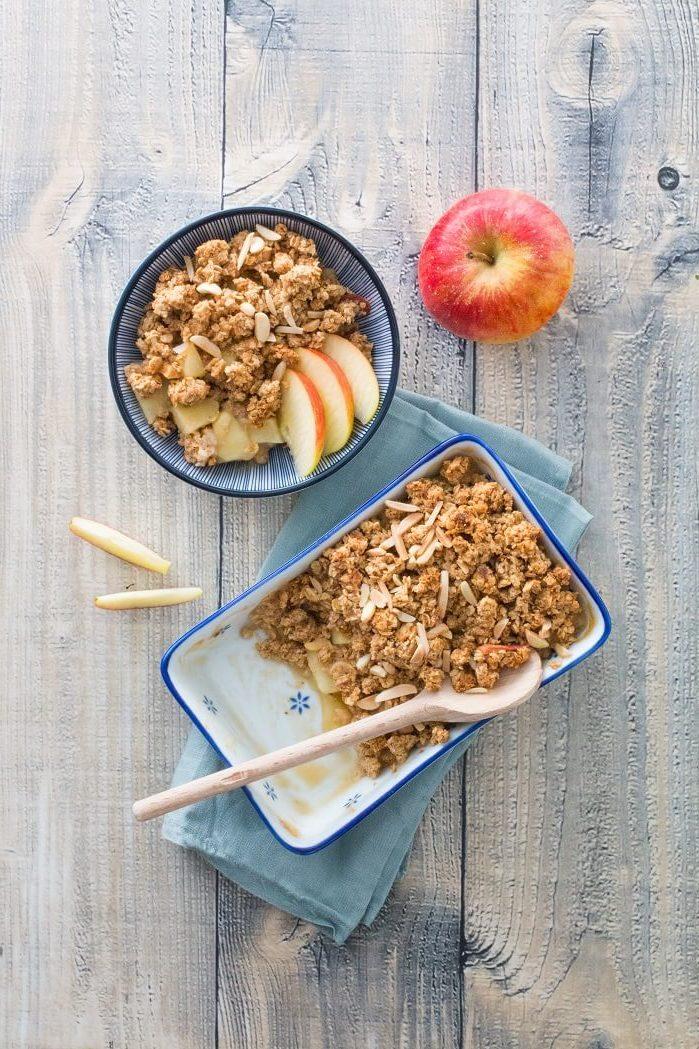 Rezept veganer Apple-Crumble mit Zimt und Mandeln vegan glutenfrei