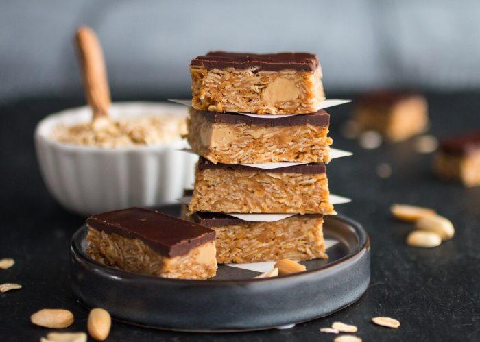 Erdnussbutter-Schnitten mit Haferohne Backen vegan glutenfrei Free your Food sojafrei Naschen